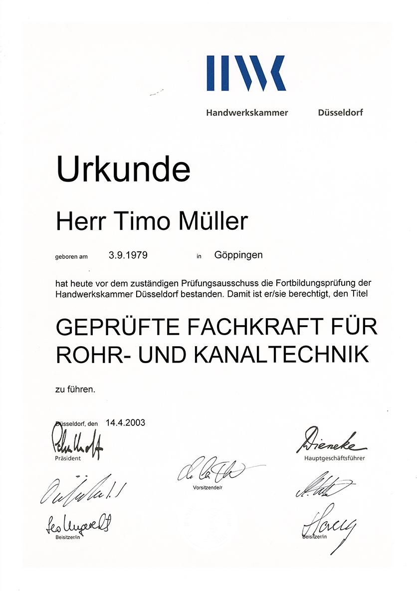 Urkunde - Fachkraft für Rohr und Kanaltechnik - T.Müller