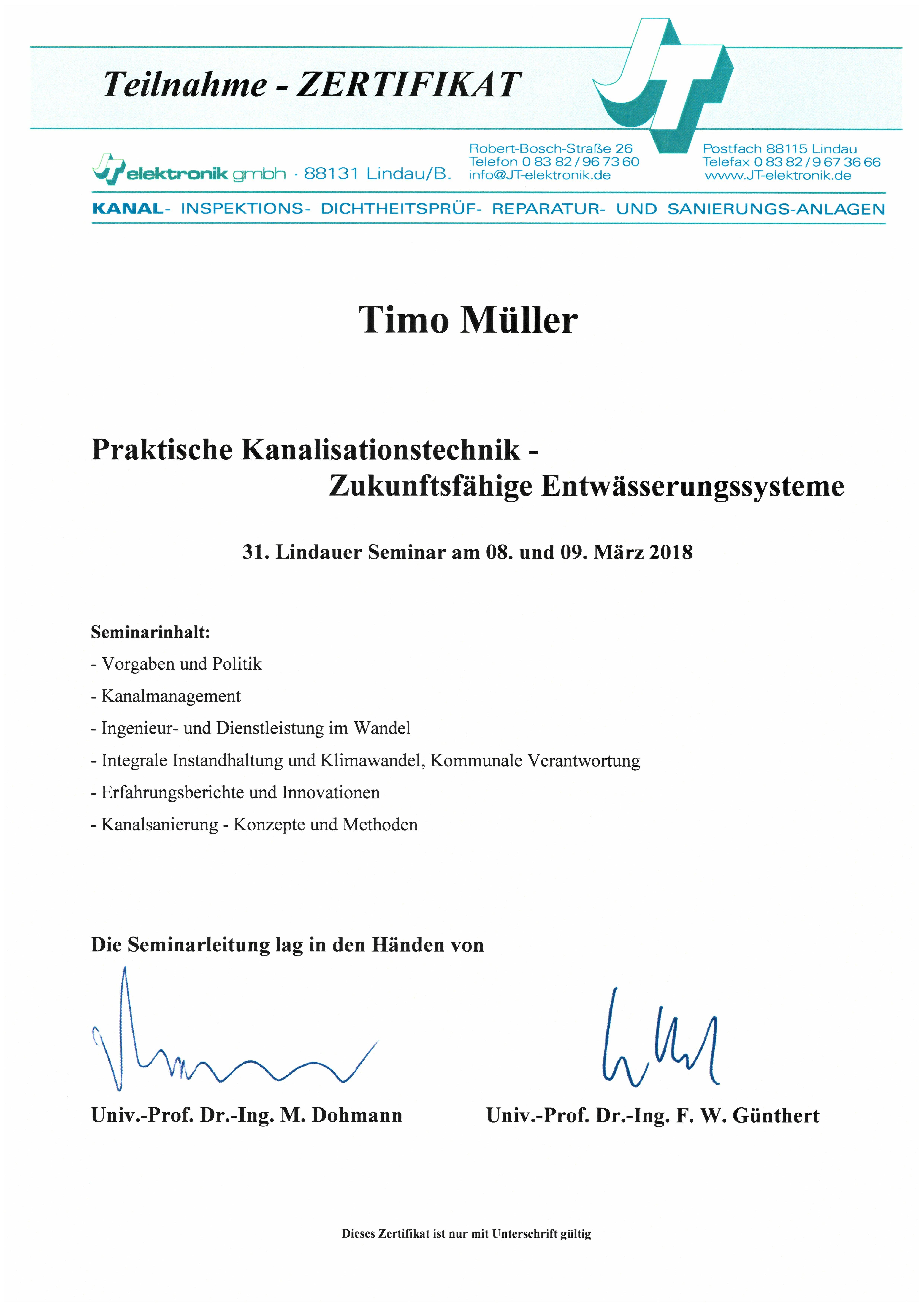 Praktische Kanalinspektionstechnik - T.Müller
