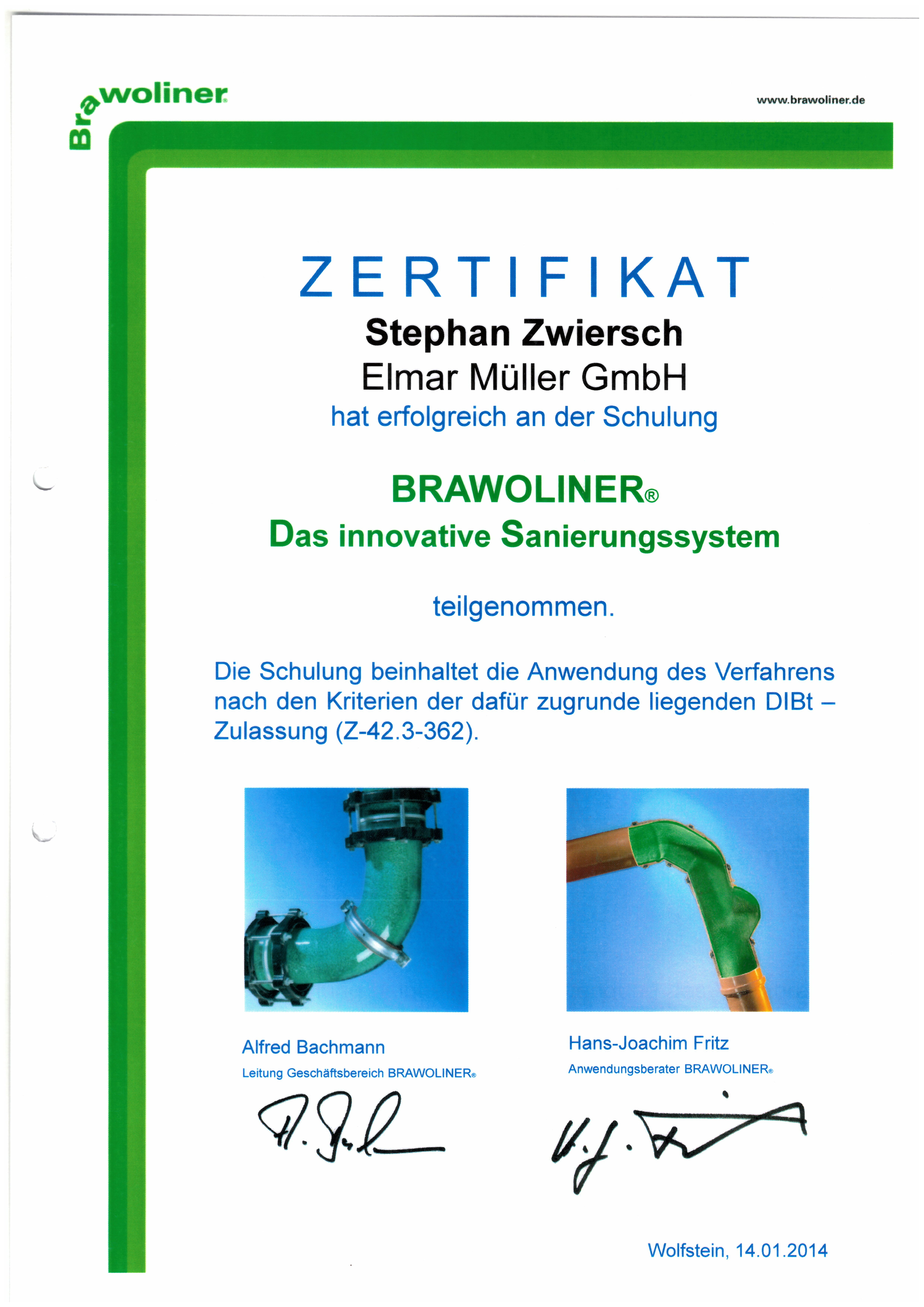 Zertifikat - Brawoliner das innovative Sanierungssystem - Zwiersch