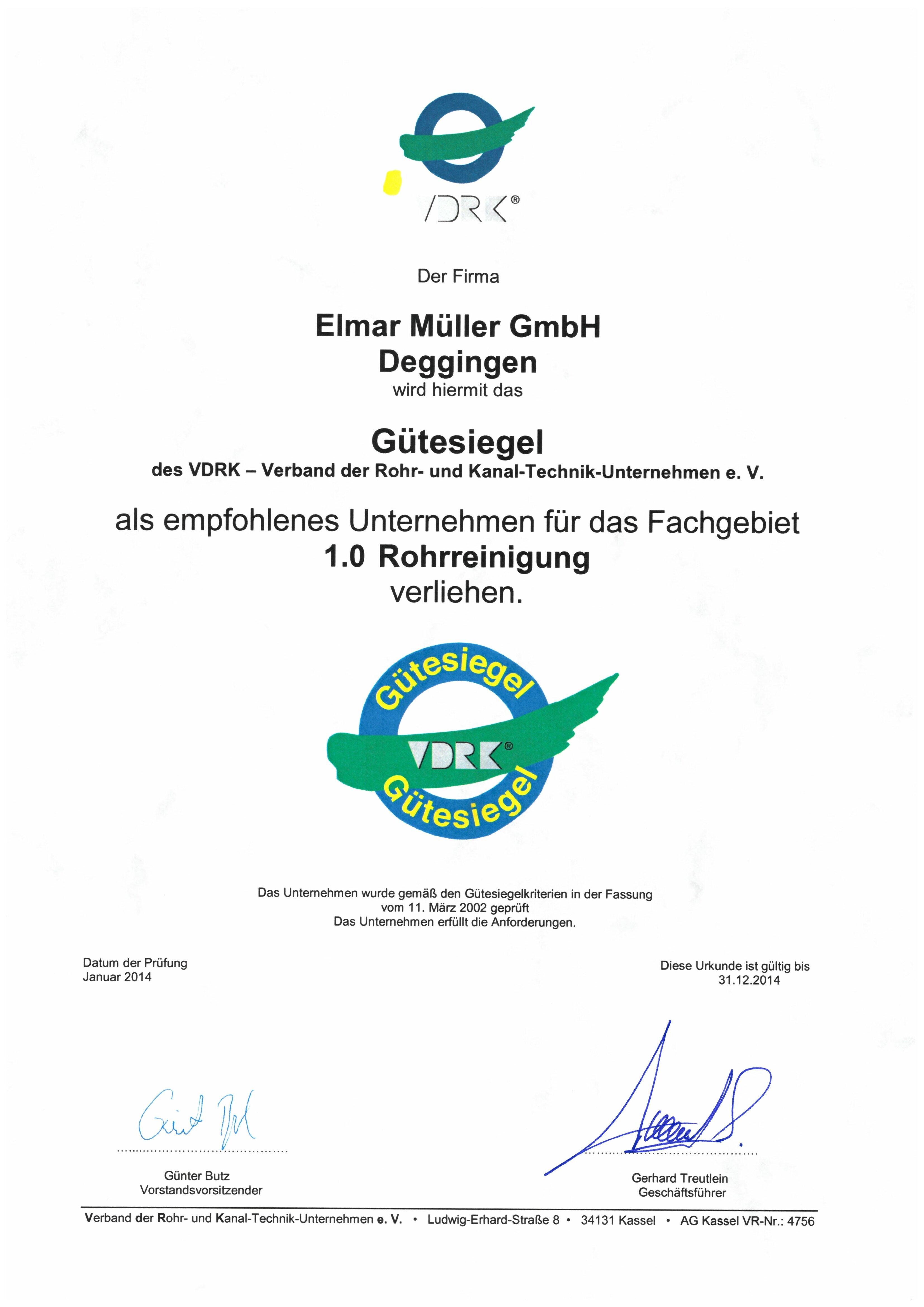VDRK Gütesiegel als Empfohlenes Unternehmen für Rohrreinigung