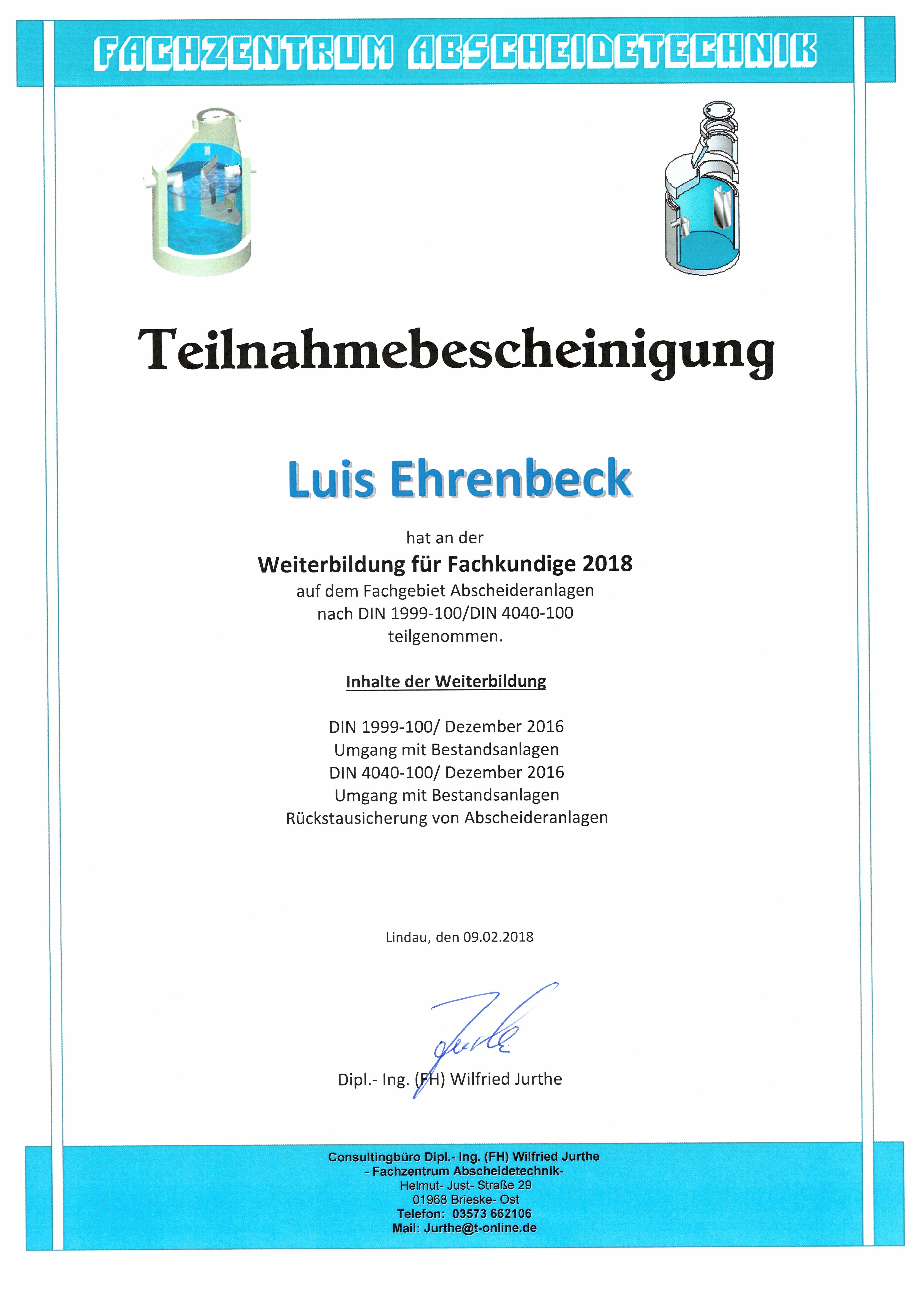 Weiterbildung Fachkunde Abscheideranlagen - Ehrenbeck