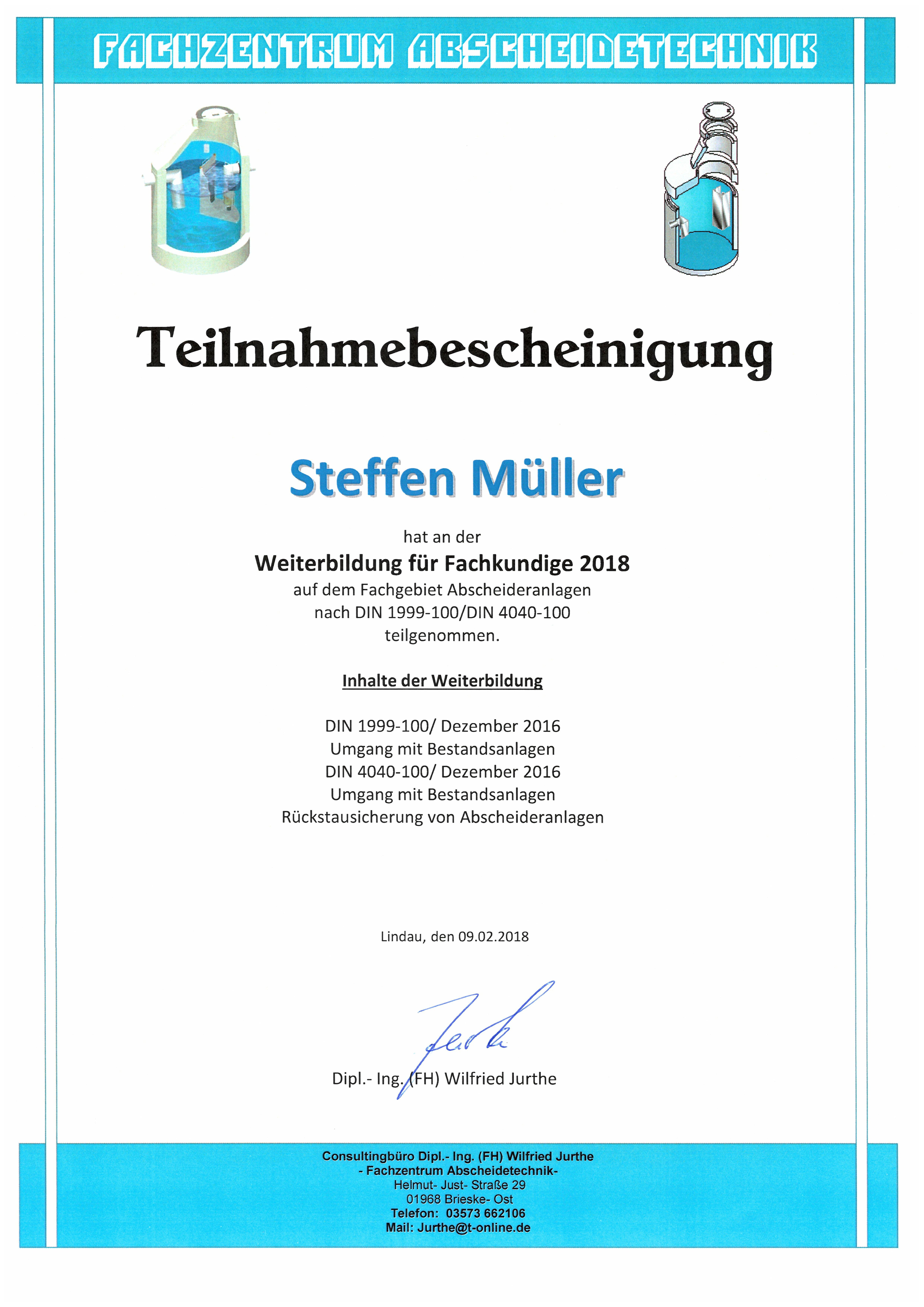 Weiterbildung Fachkunde Abscheideranlagen - S. Müller
