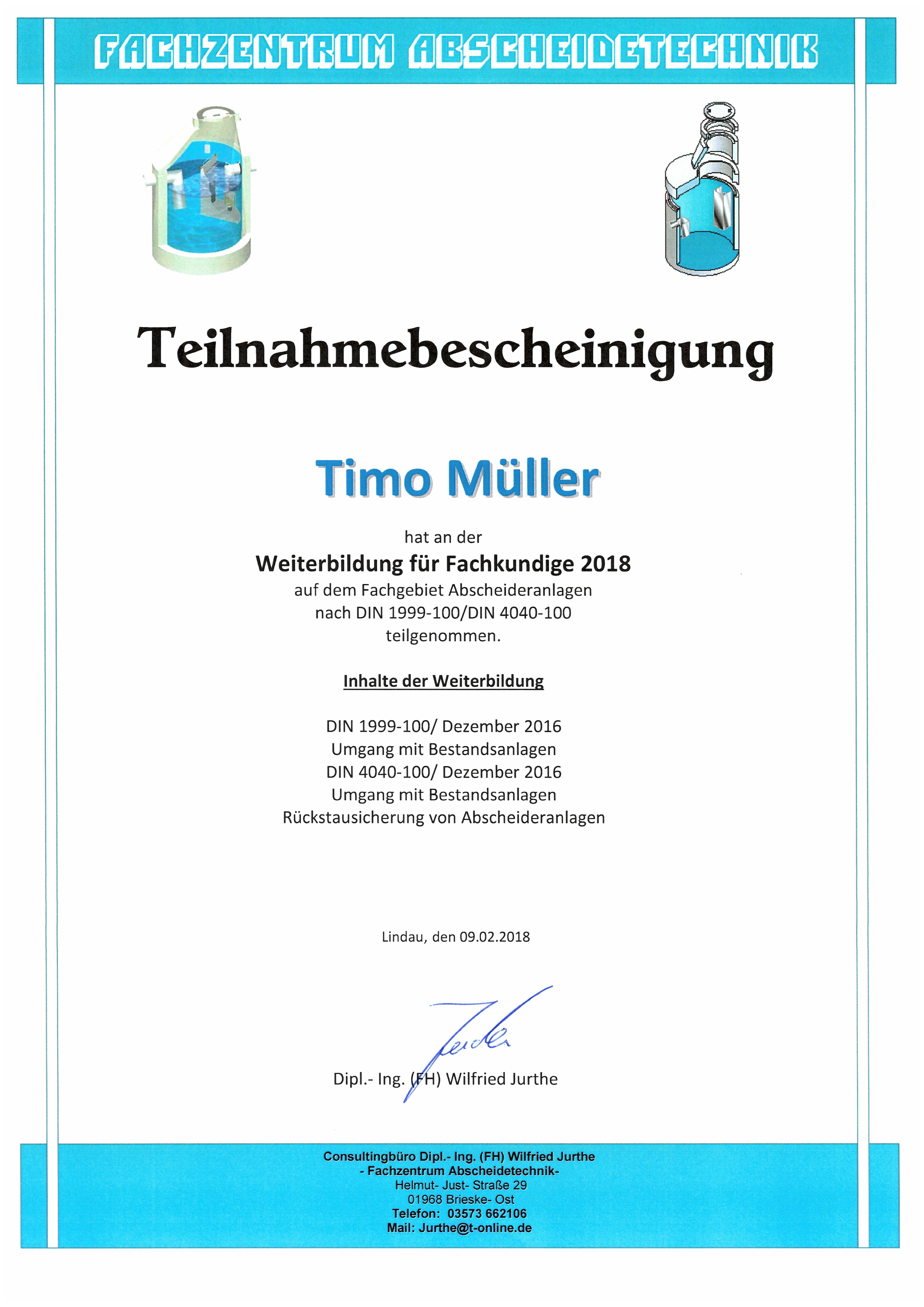 Weiterbildung Fachkunde Abscheideranlagen - T.Müller