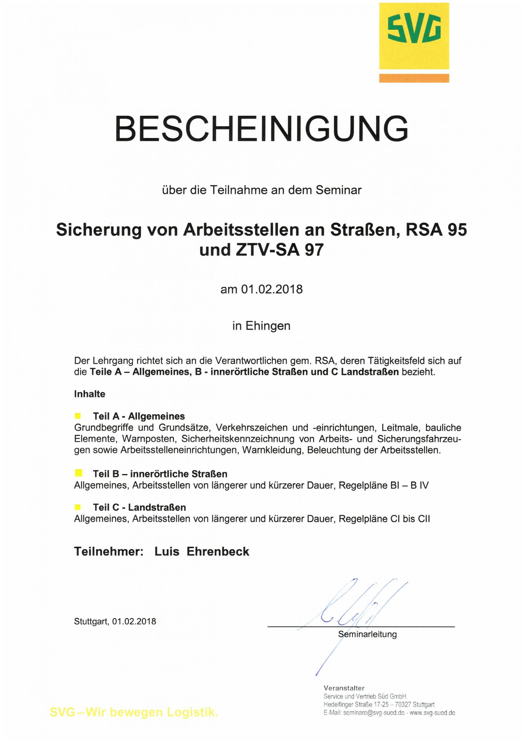 Seminarbescheinigung zur Sicherung von Arbeitsstellen an Straßen - Ehrenbeck