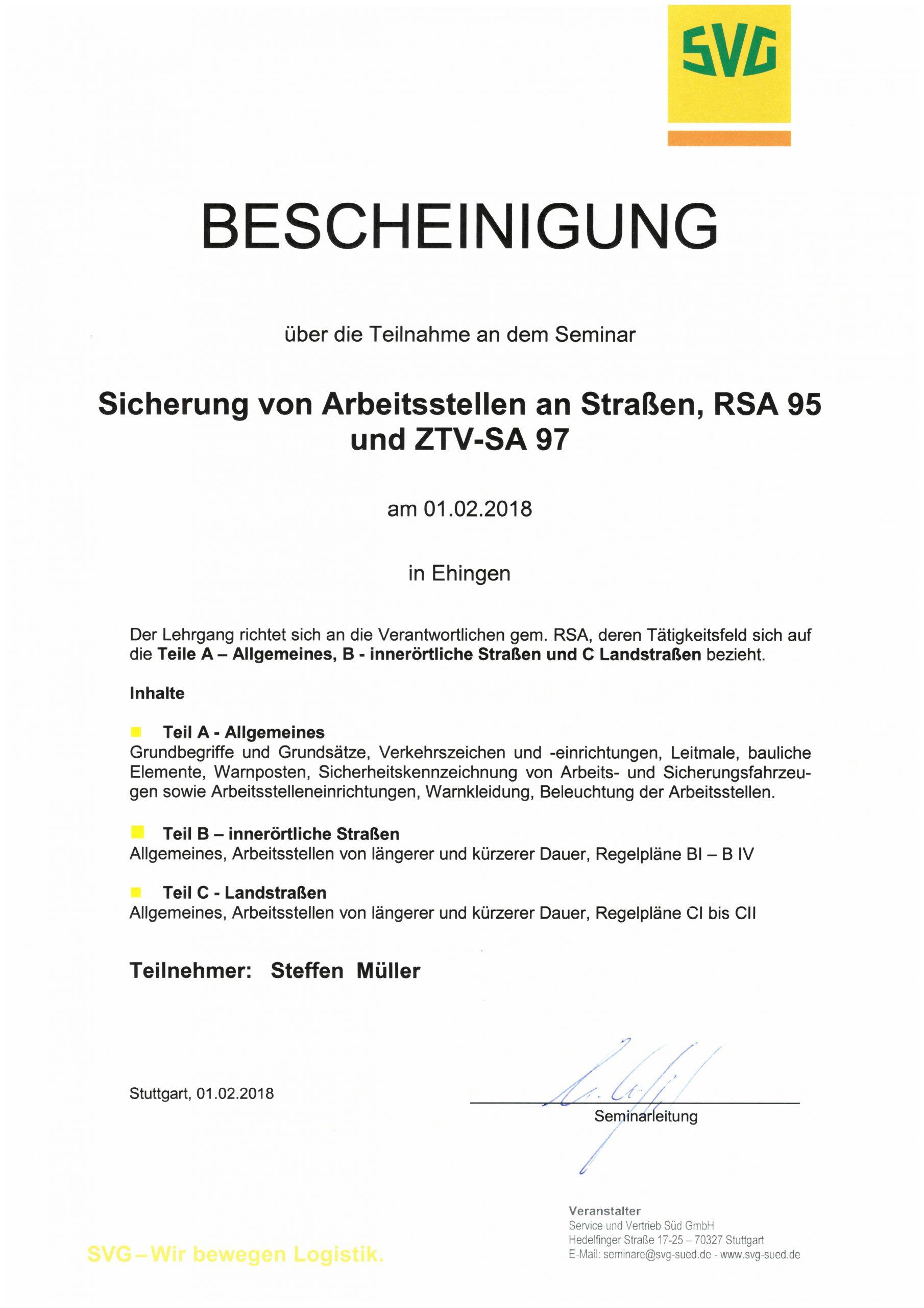 Seminarbescheinigung zur Sicherung von Arbeitsstellen an Straßen - S. Müller